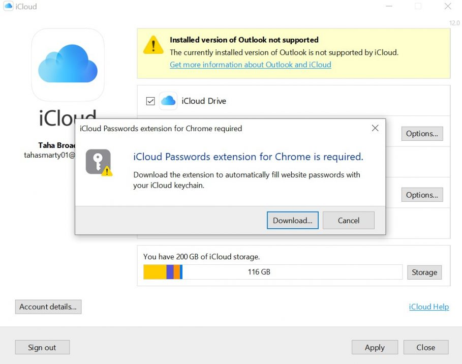 Chaves do iCloud no Chrome