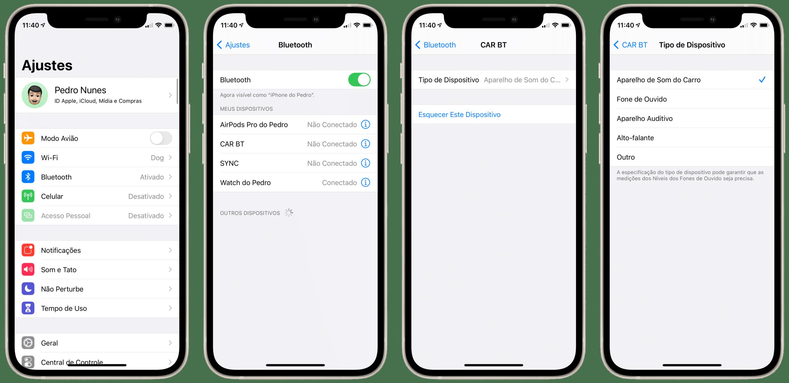 Nomeando dispositivos Bluetooth no iPhone
