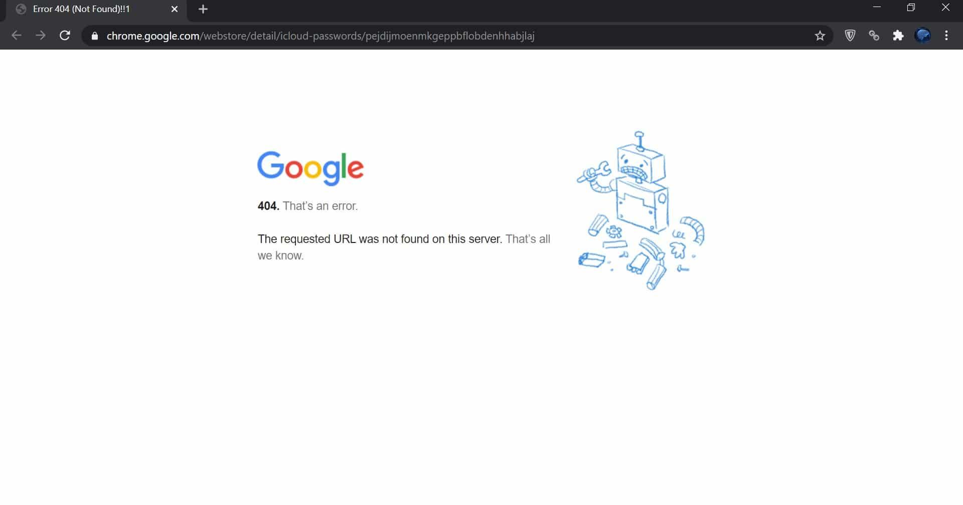 Página de erro do Chrome