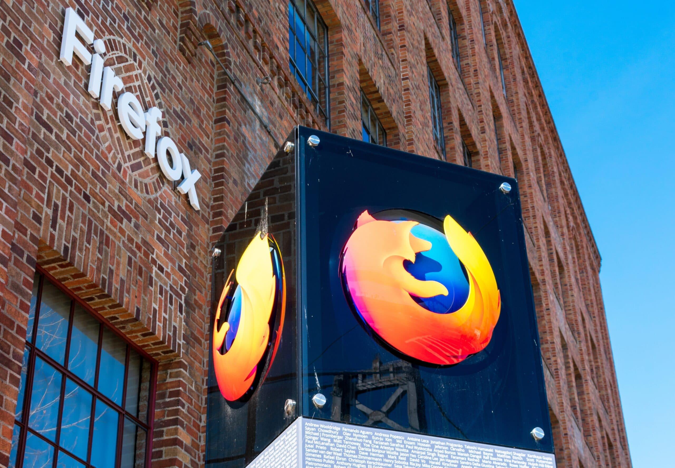 Sede da Mozilla Foundation com logo do Firefox em San Francisco