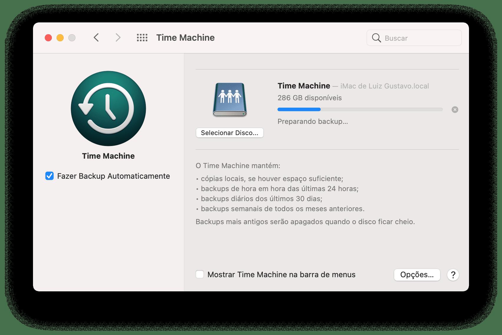 Backup do Time Machine
