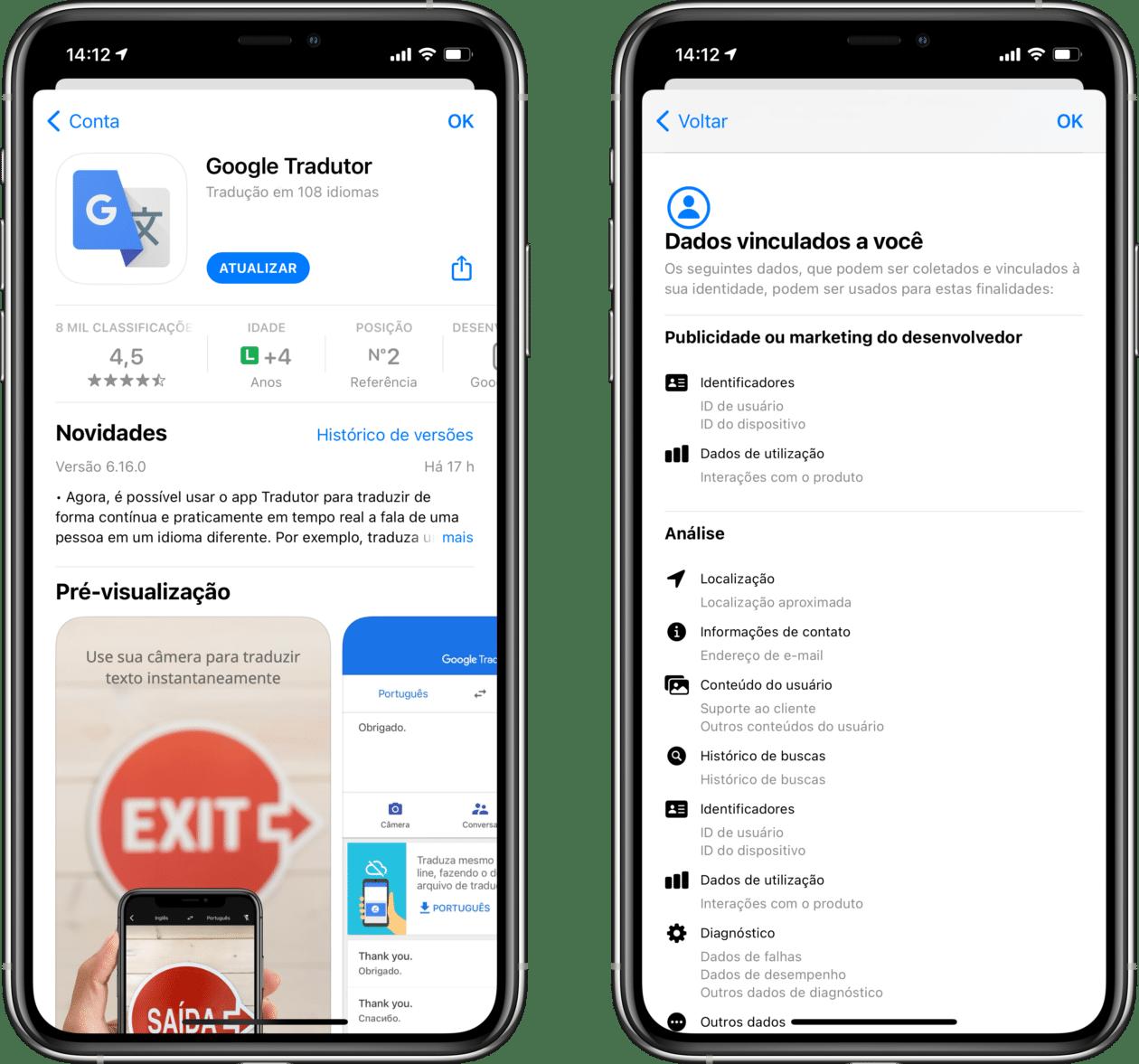 Informações de privacidade do Google Tradutor