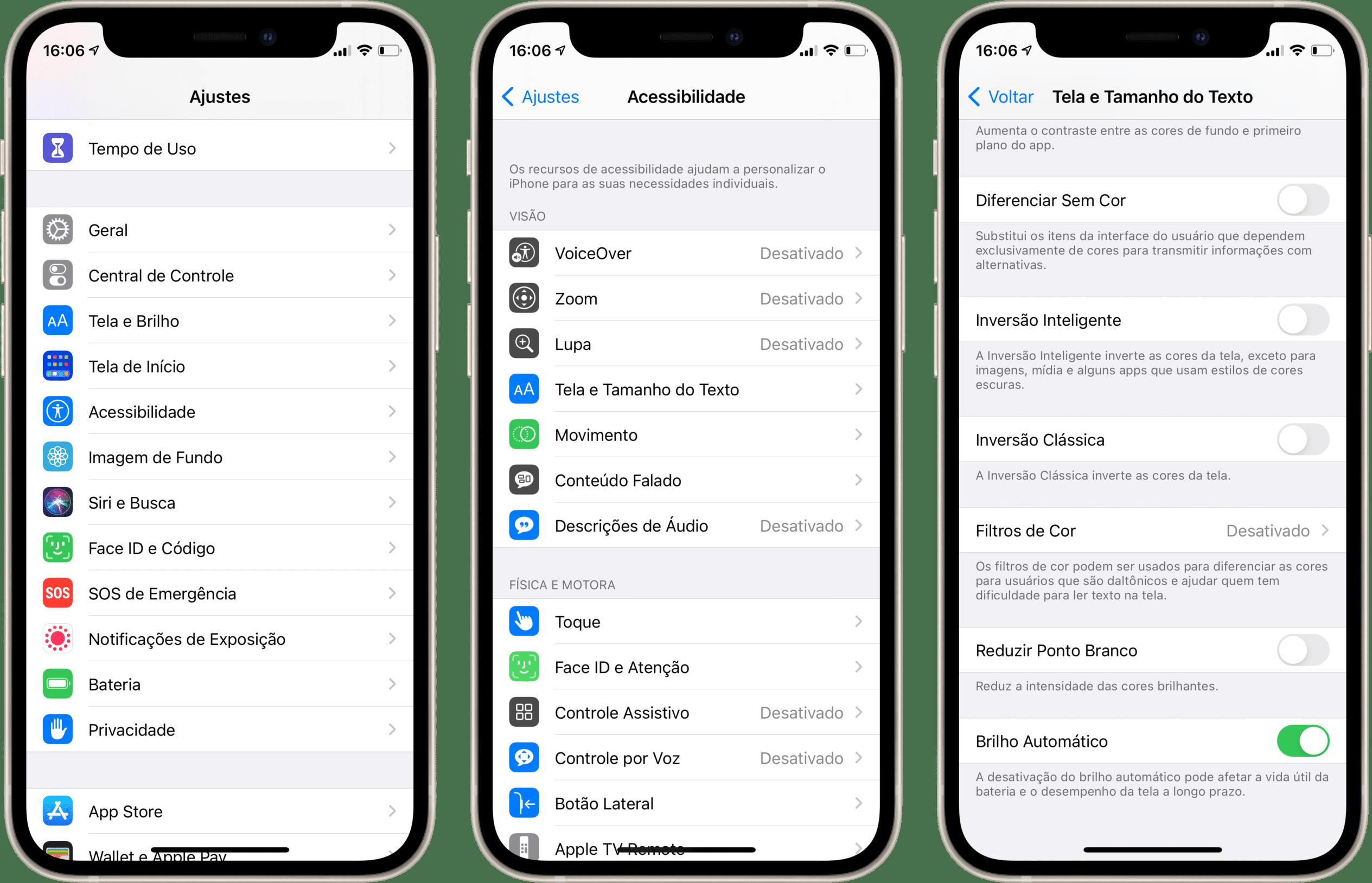 Ajustando o brilho da tela em iPhones