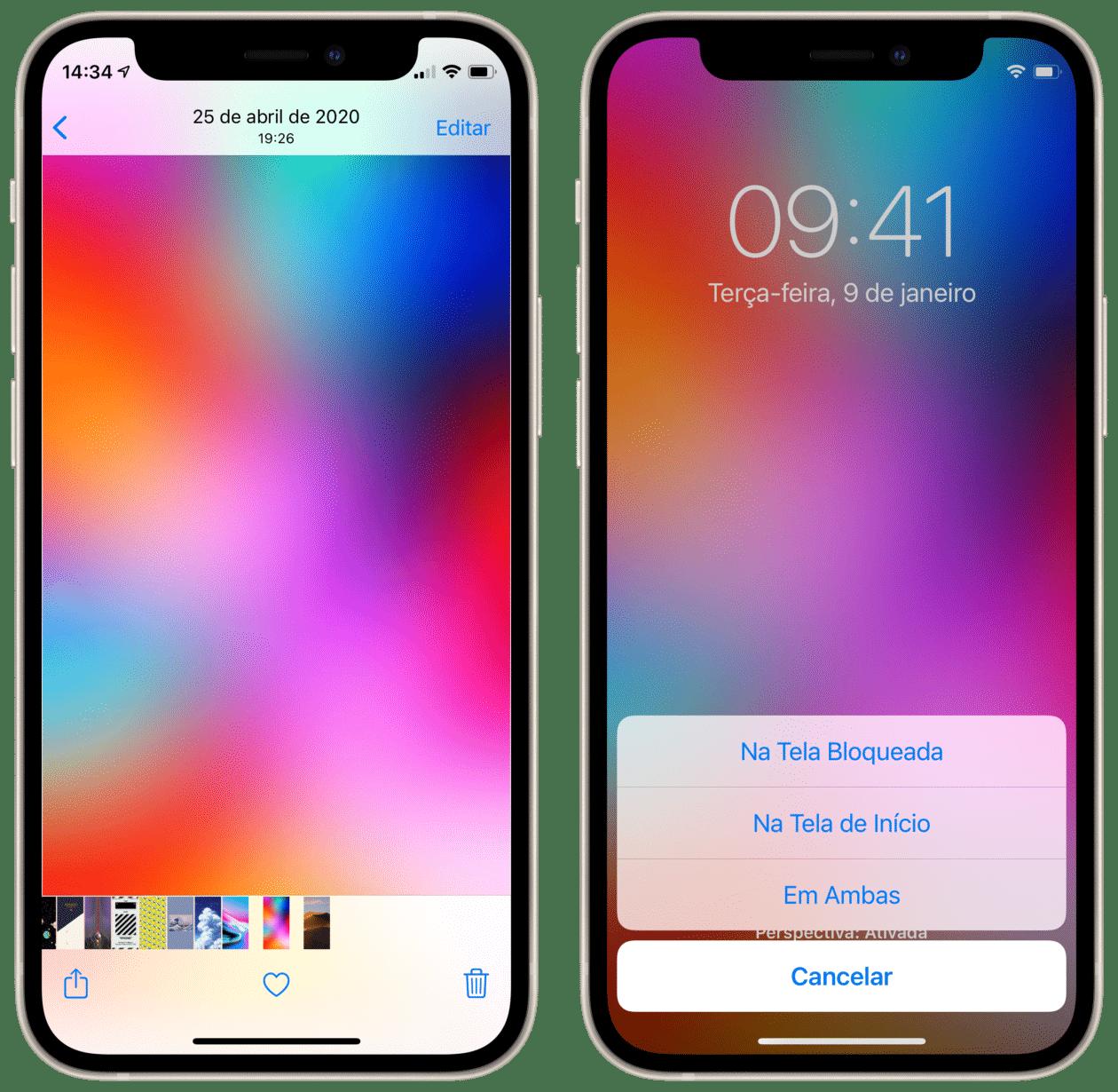 Escolhendo uma foto como wallpaper no iPhone