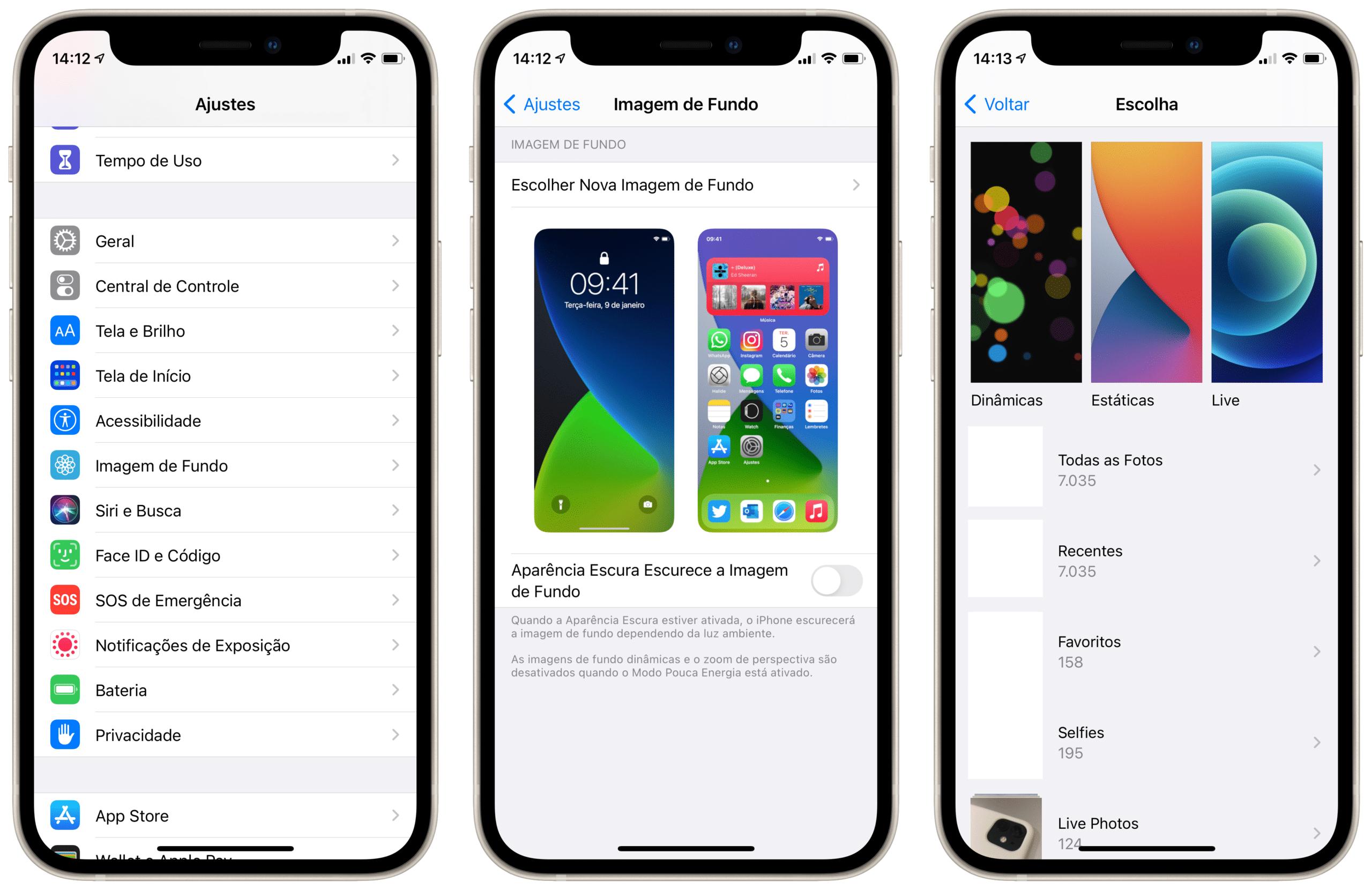 Alterando o wallpaper no iPhone