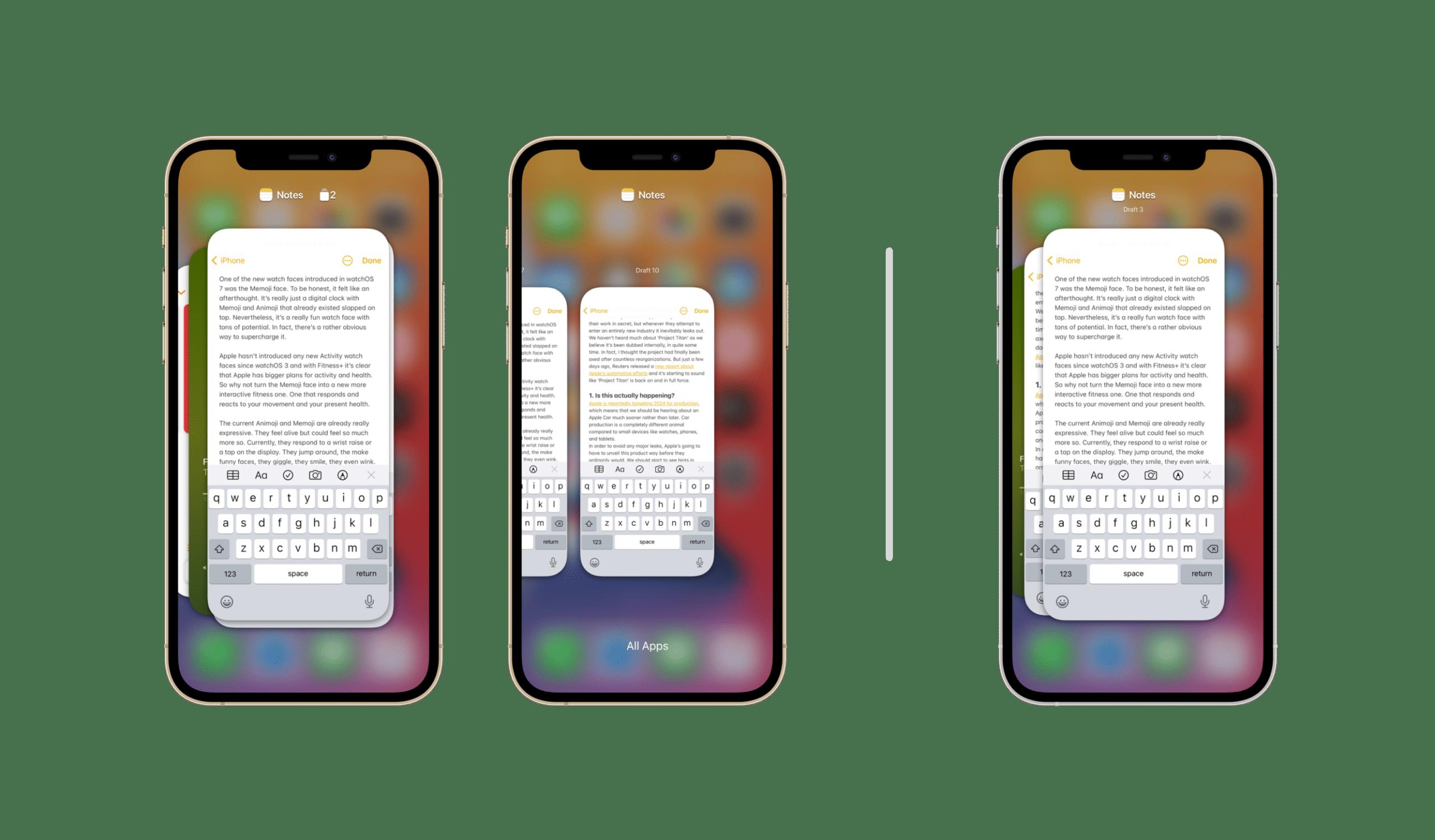 Conceito de múltiplas sessões de apps no iPhone