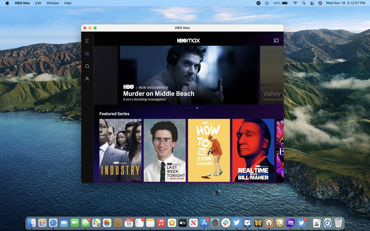 App HBO Max para iPads rodando no Mac