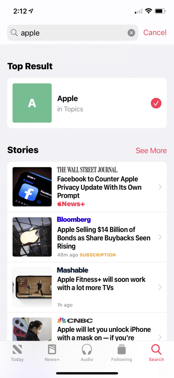 Novidades no Apple News no iOS 14.5