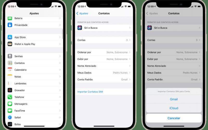 Importando contatos no iPhone
