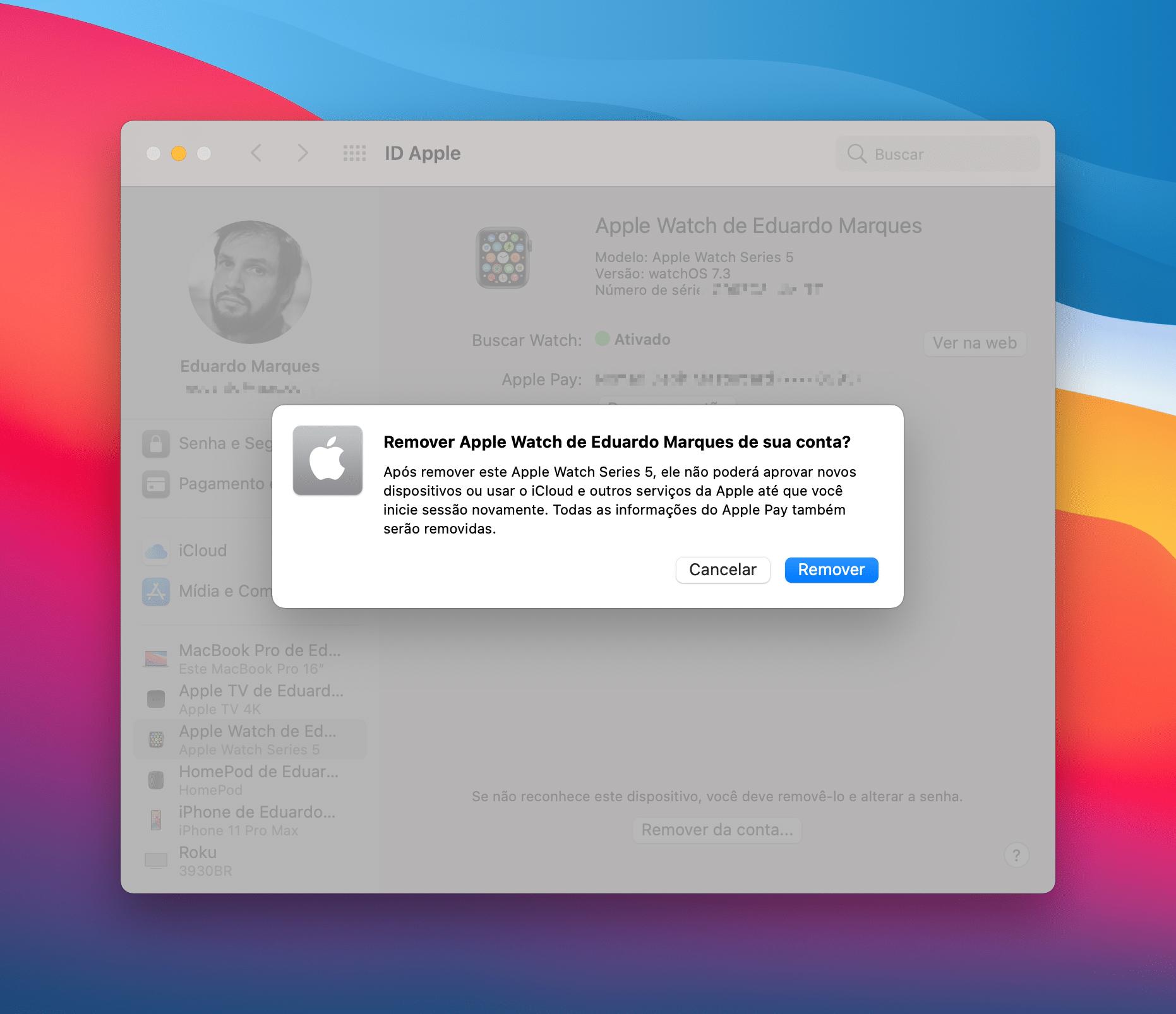 Removendo dispositivos do iCloud