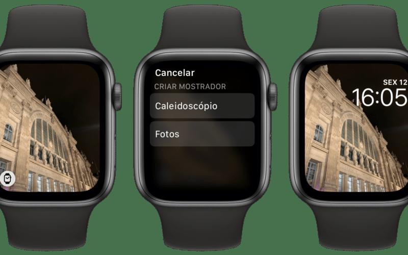 Mostrador fotos no Apple Watch