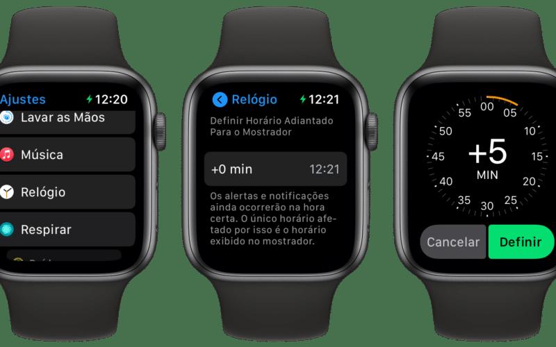 Horário adiantado no Apple Watch