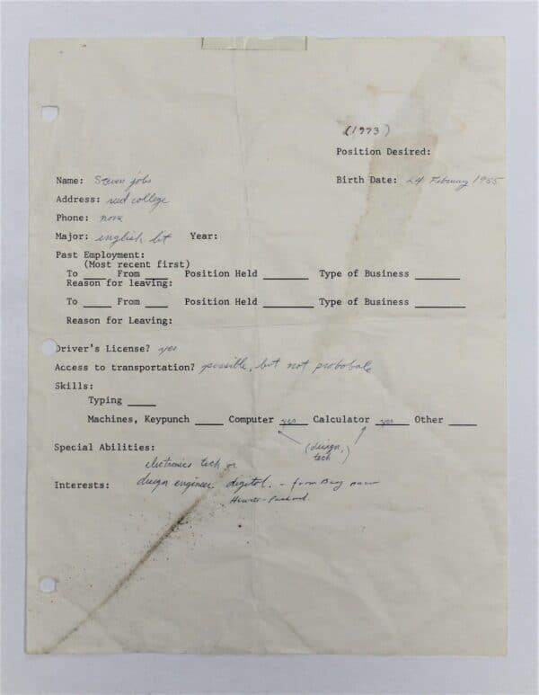 Formulário de emprego preenchido por Steve Jobs