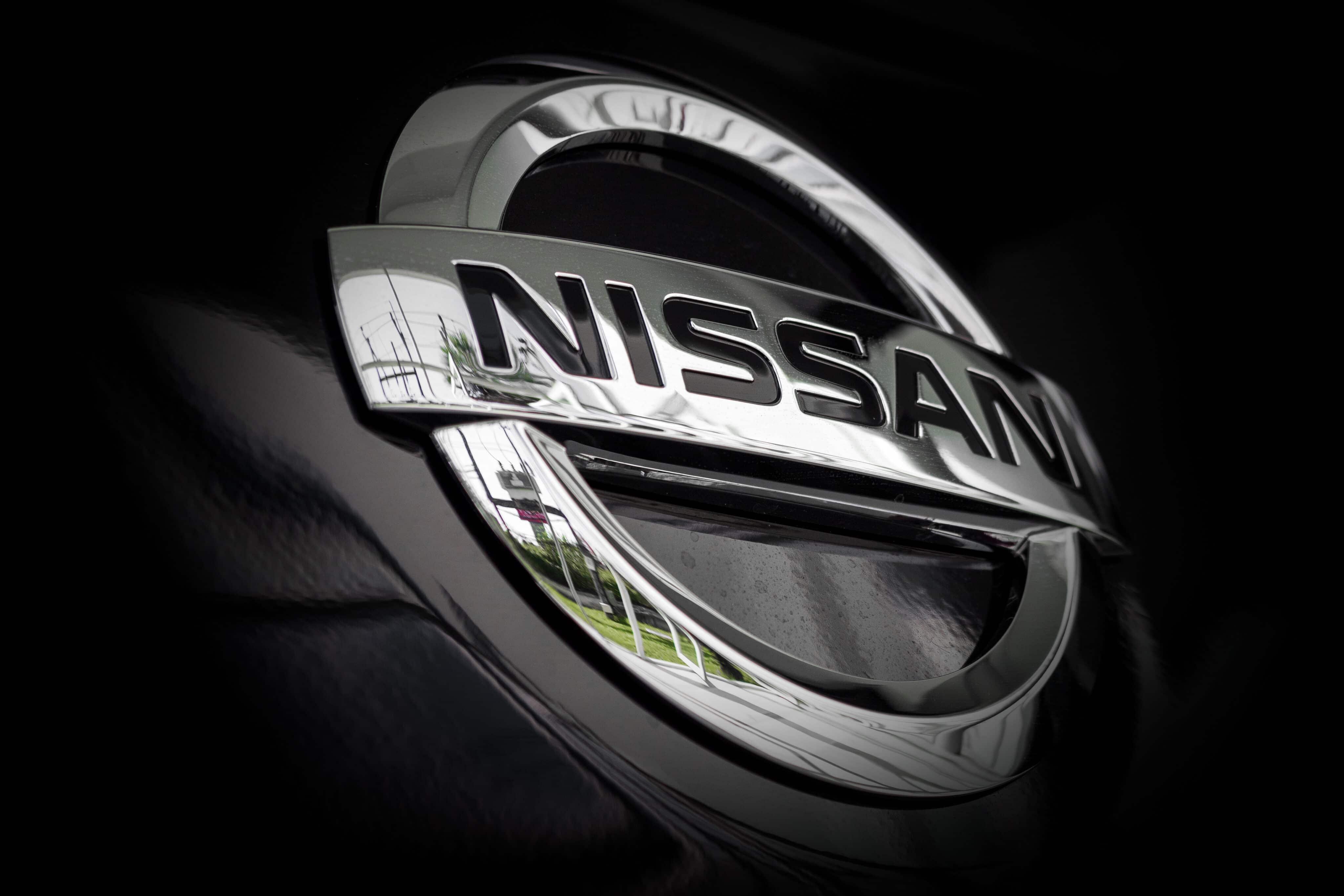 Marca da Nissan em preto e branco