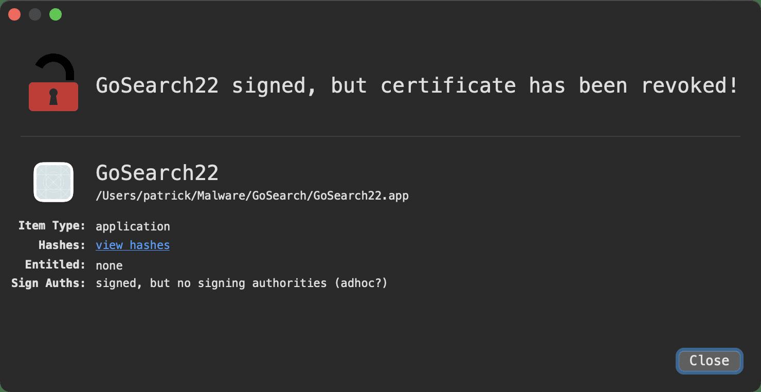 Certificado do GoSearch22 revogado