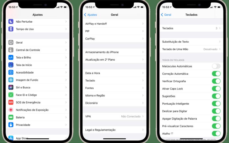 Opção de usar letras maiúsculas automaticamente no iPhone
