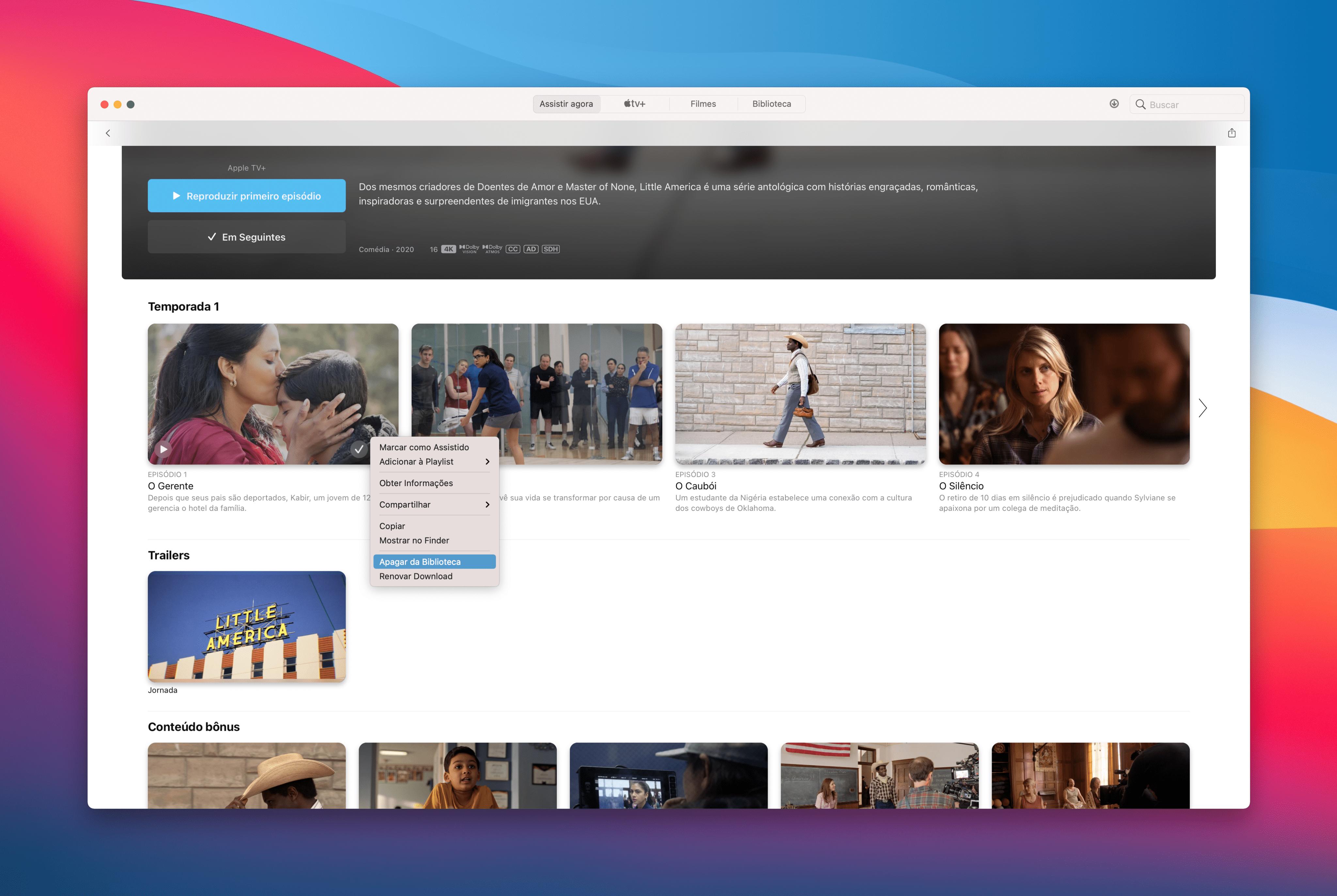Apagando um episódio/filme do Apple TV+ no Mac