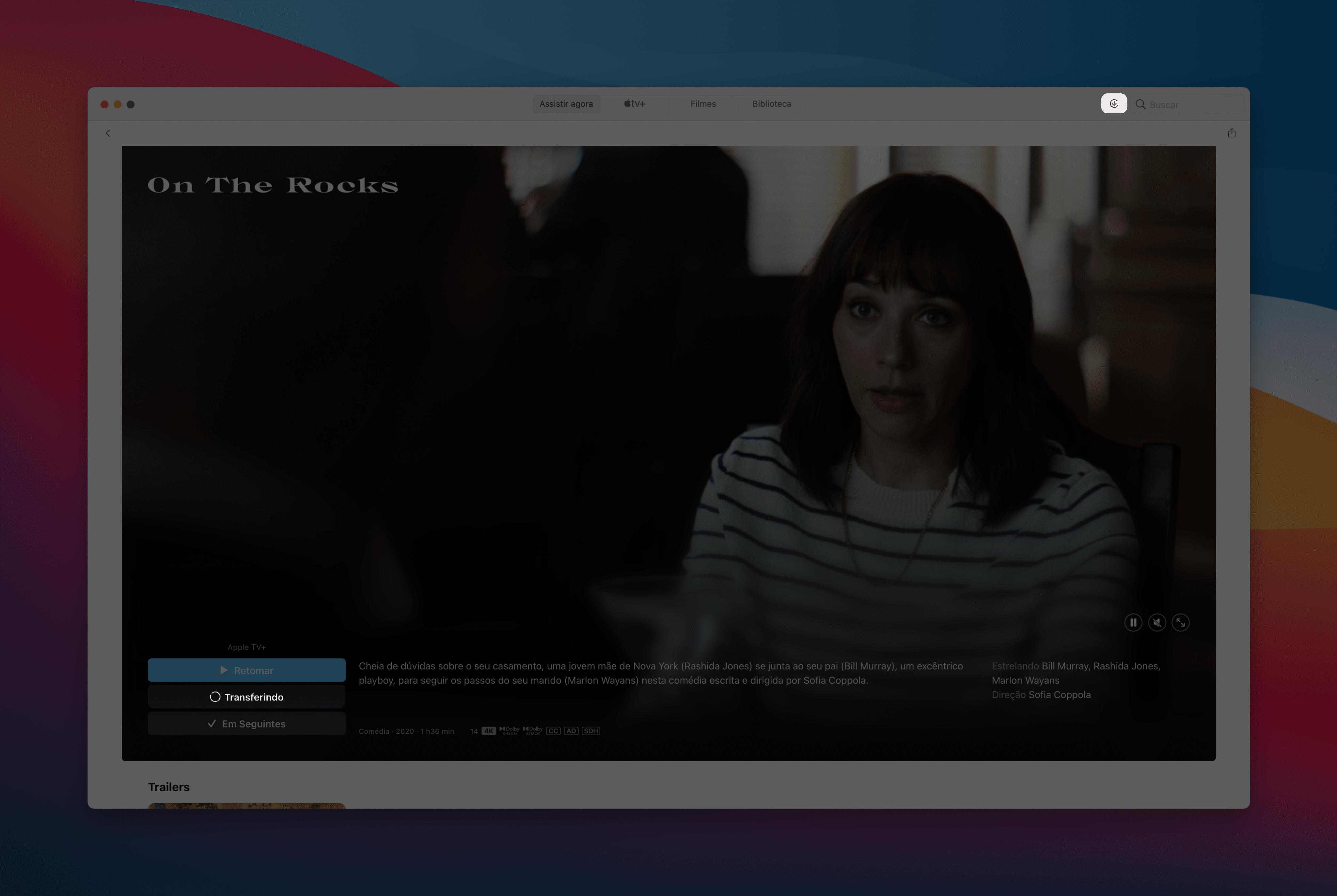 Baixando um episódio/filme do Apple TV+ no Mac
