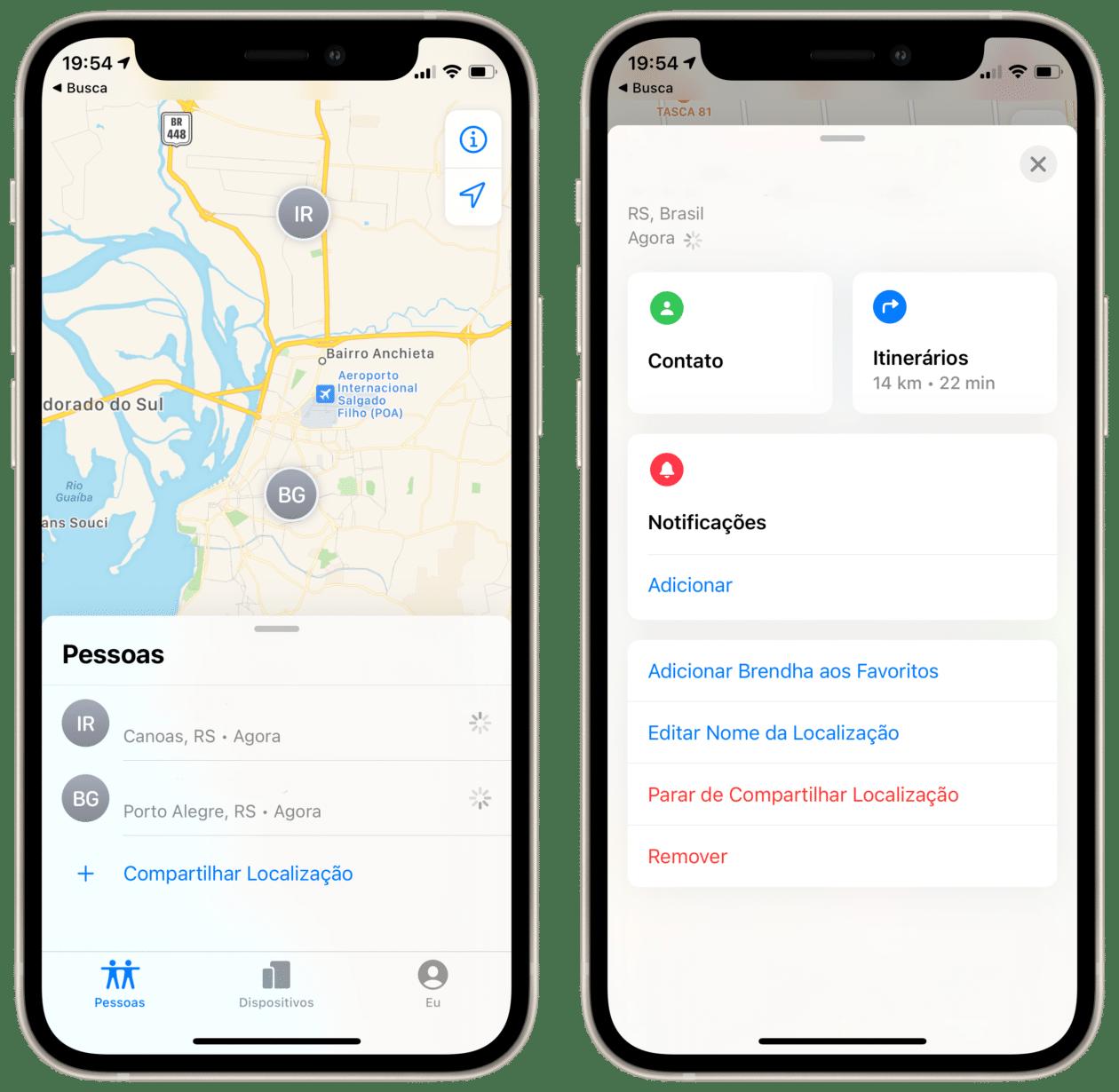 Parando de compartilhar a localização no app Buscar