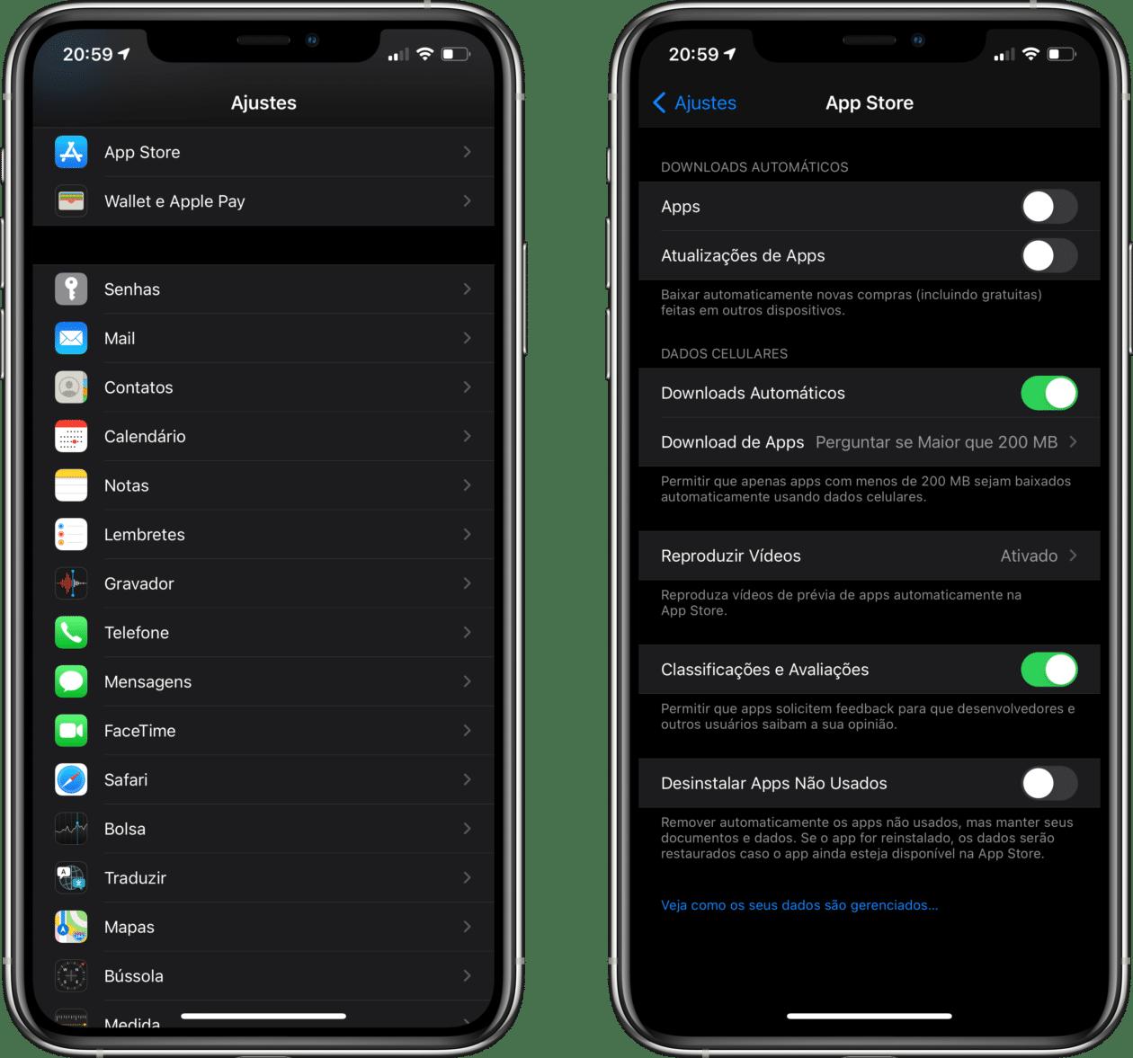 Download automático de apps no iPhone