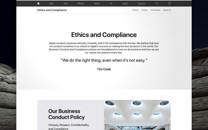 Página de ética e conformidade da Apple