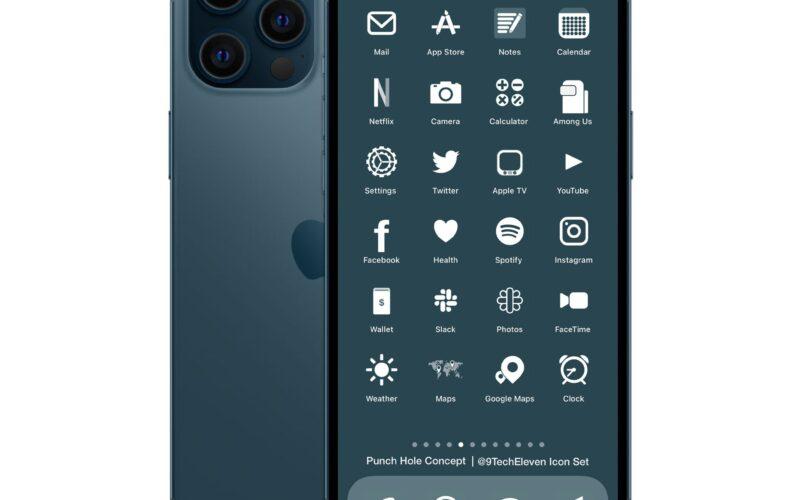 Conceito de iPhone com punch-hole