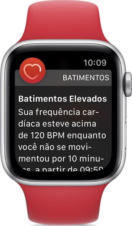 Notificação de batimentos elevados no Apple Watch