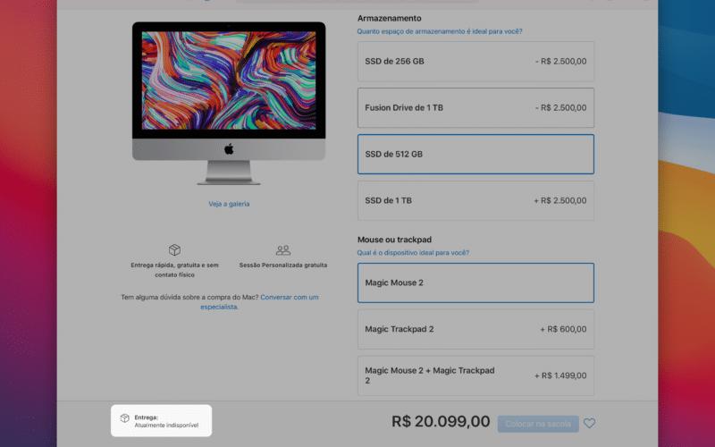 iMac indisponível na Apple Store online brasileira