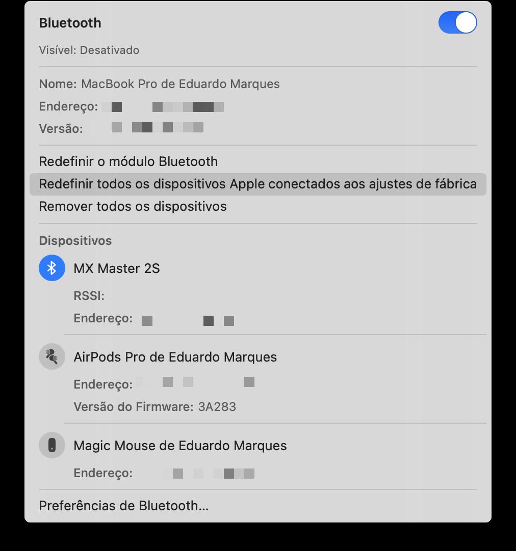 Resetar todos os dispositivos Bluetooth Apple