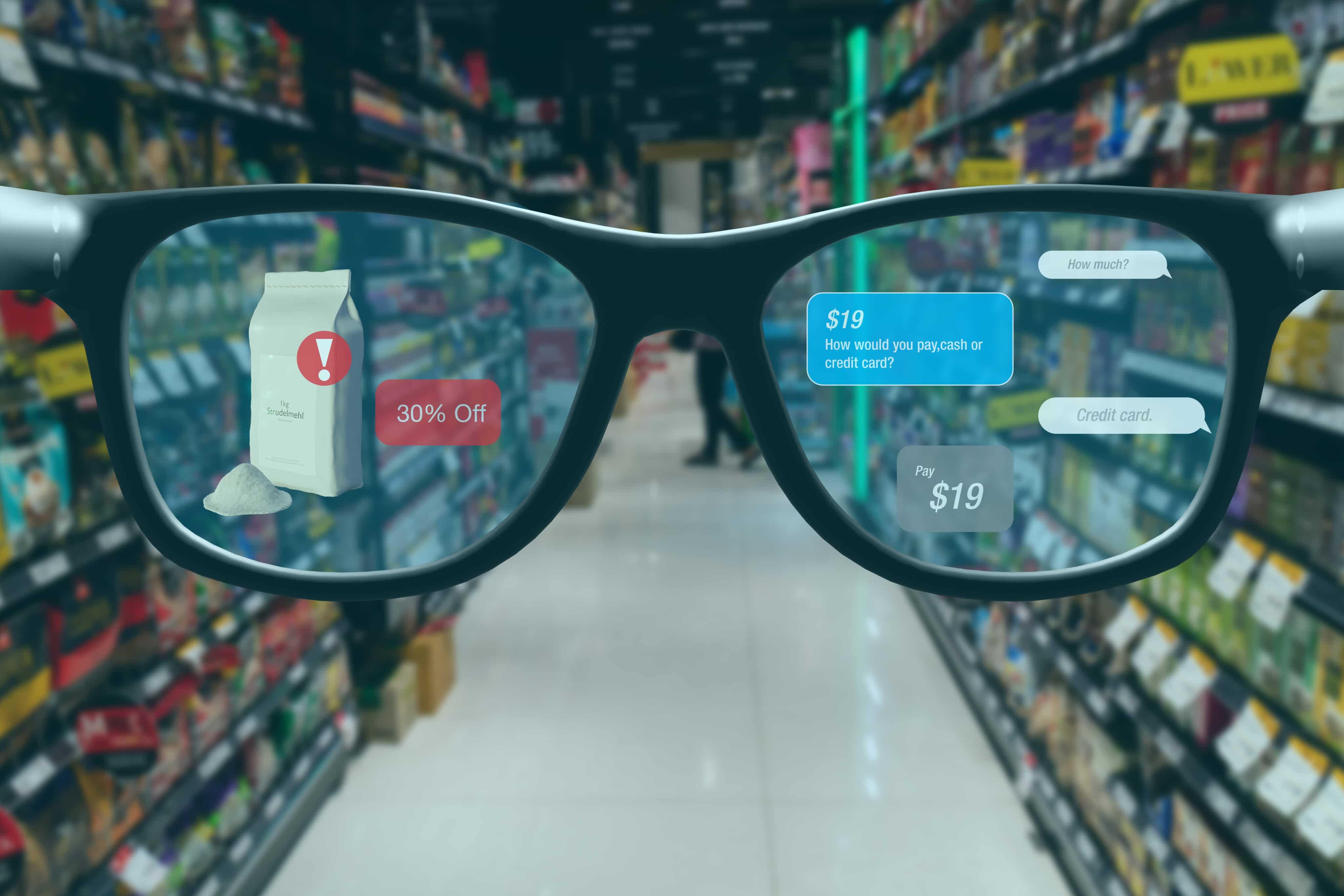 Conceito de óculos com realidade aumentada em loja
