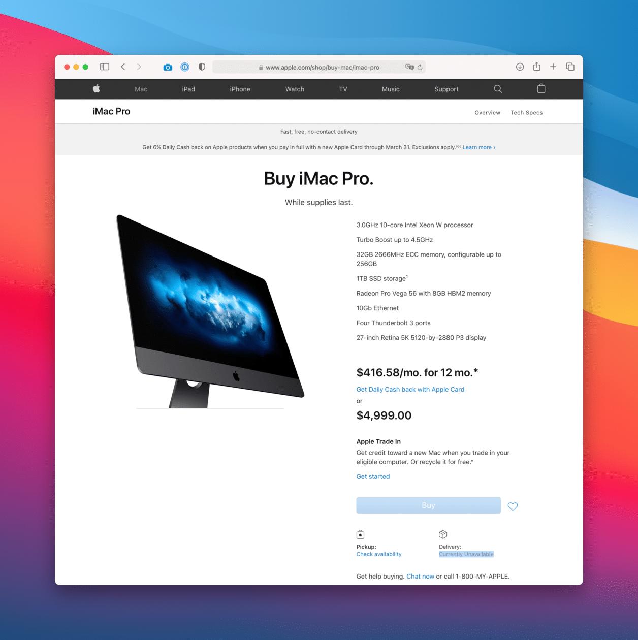 iMac Pro indisponível para compra nos EUA