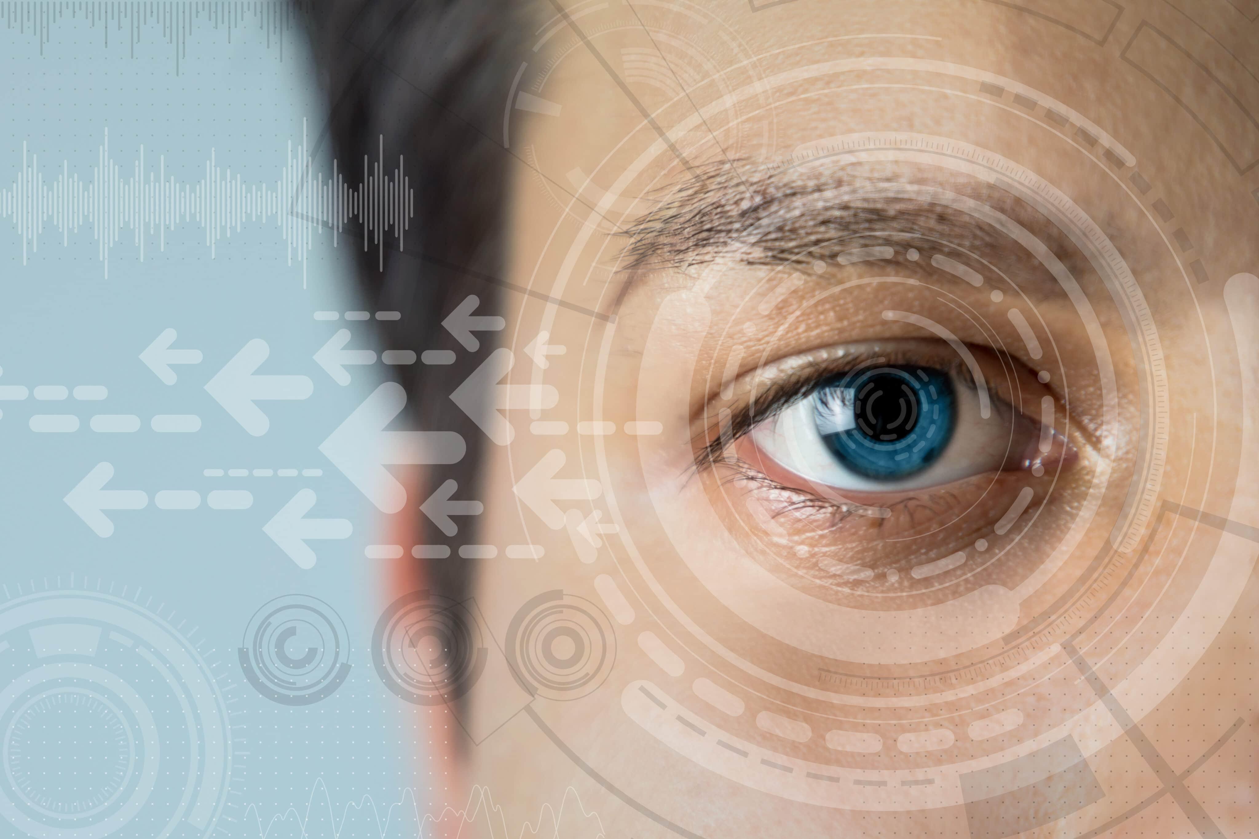 Olho de homem com aspecto futurista