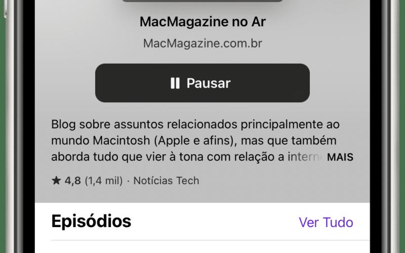 """""""Seguir"""" no Podcasts do iOS 14.5"""
