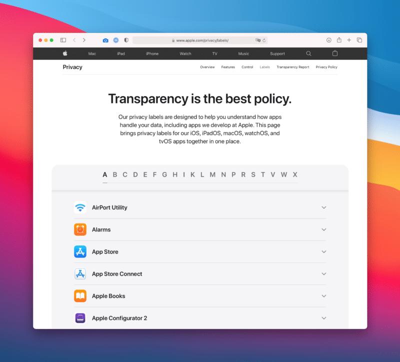 Página de privacidade de apps da Apple