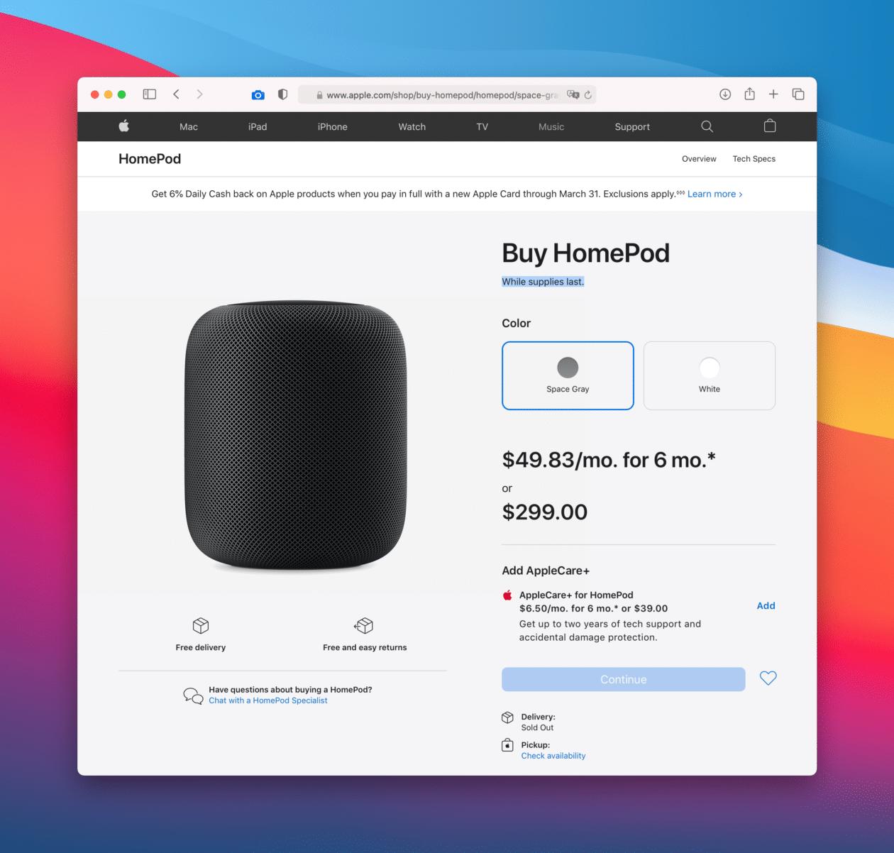Página de compra do HomePod