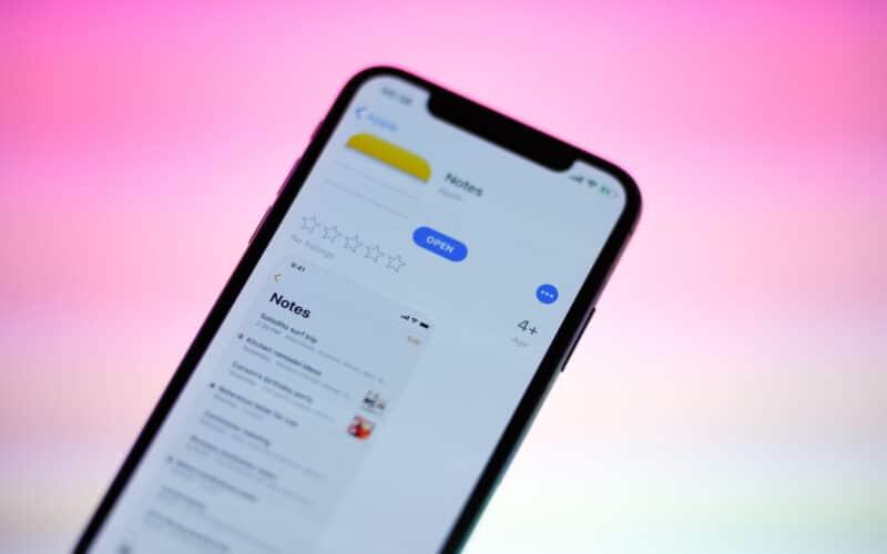 App Notas no iPhone