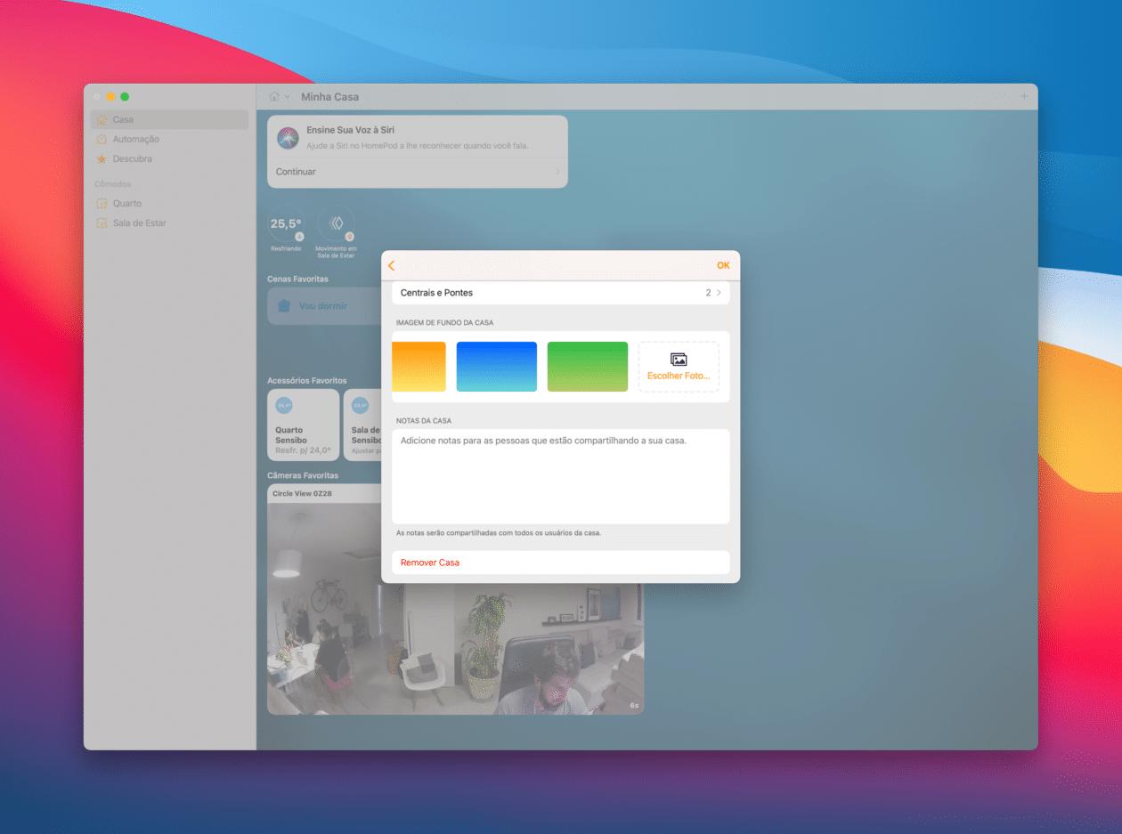 Mudando o wallpaper do app Casa no macOS