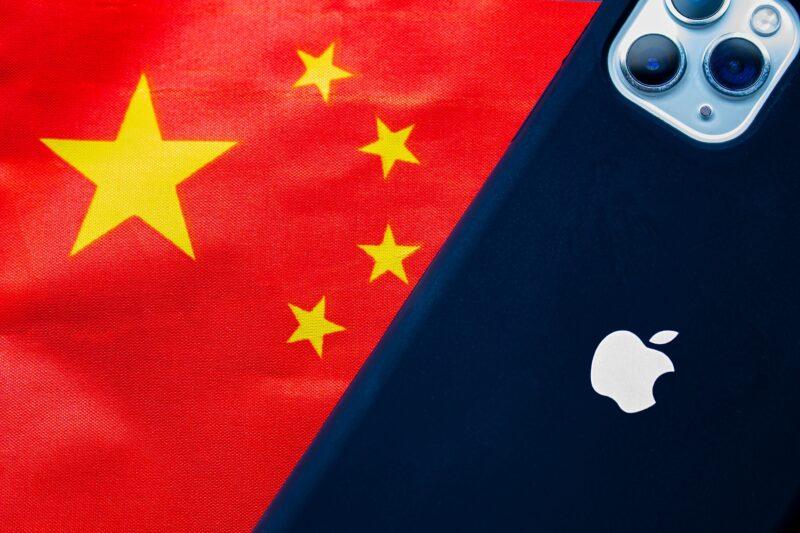 Bandeira da China com iPhone