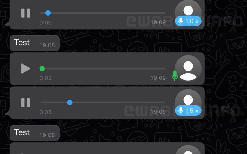Diferentes velocidades de reprodução de áudios no WhatsApp