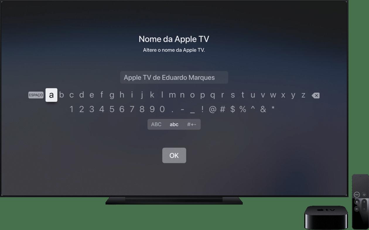 Mudando o nome da Apple TV