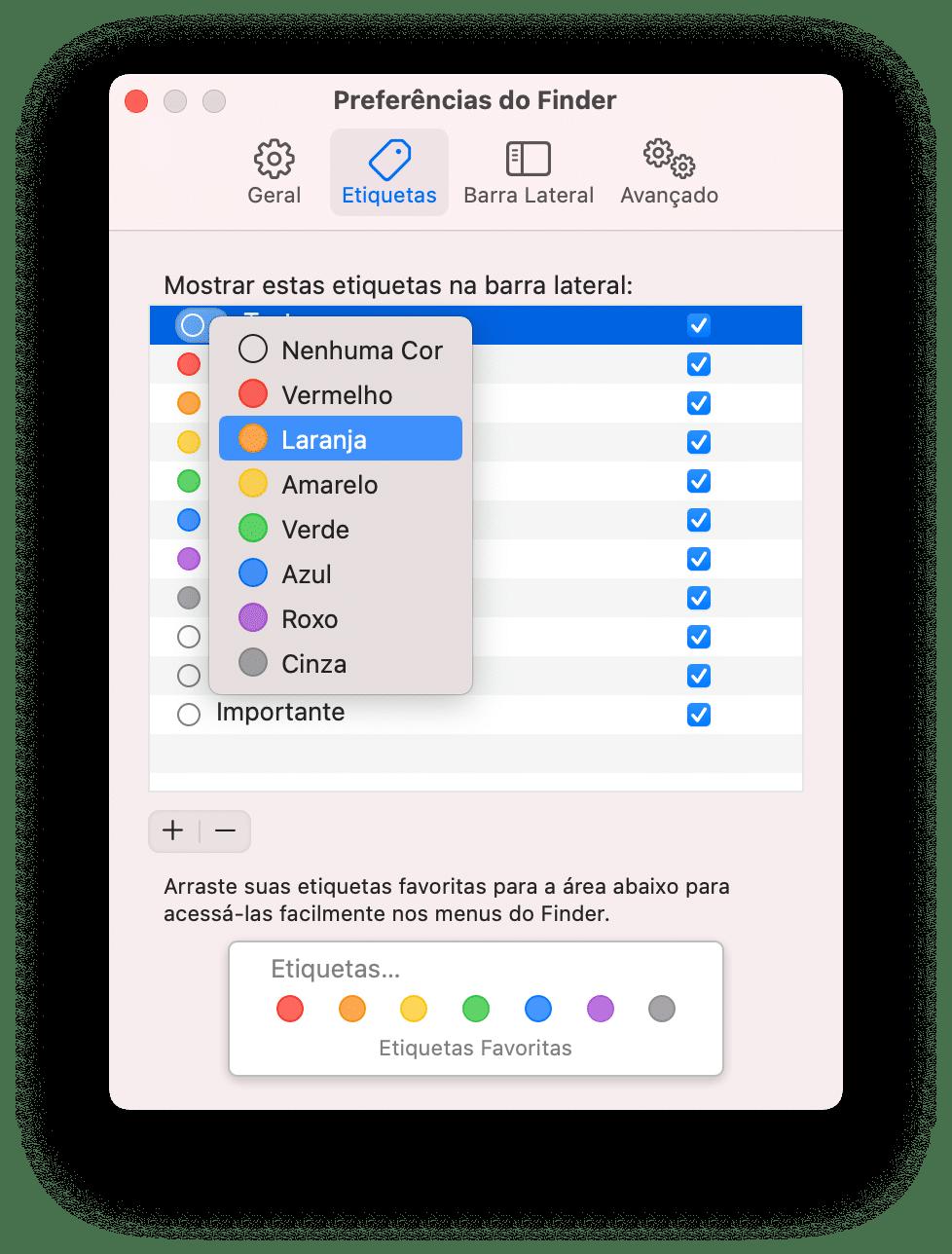 Usando as etiquetas do Finder