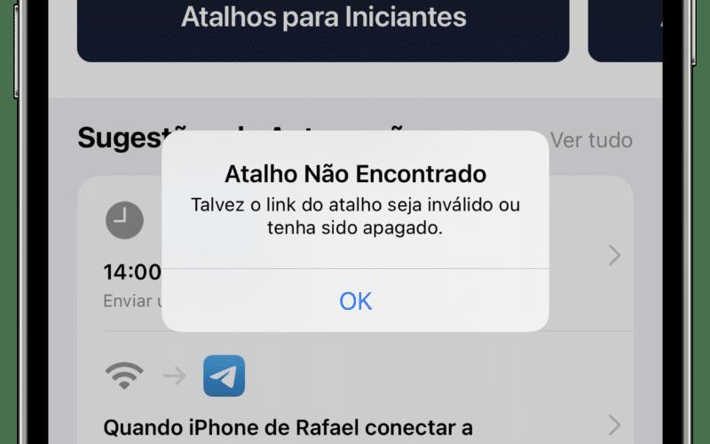 Atalhos quebrados no iPhone