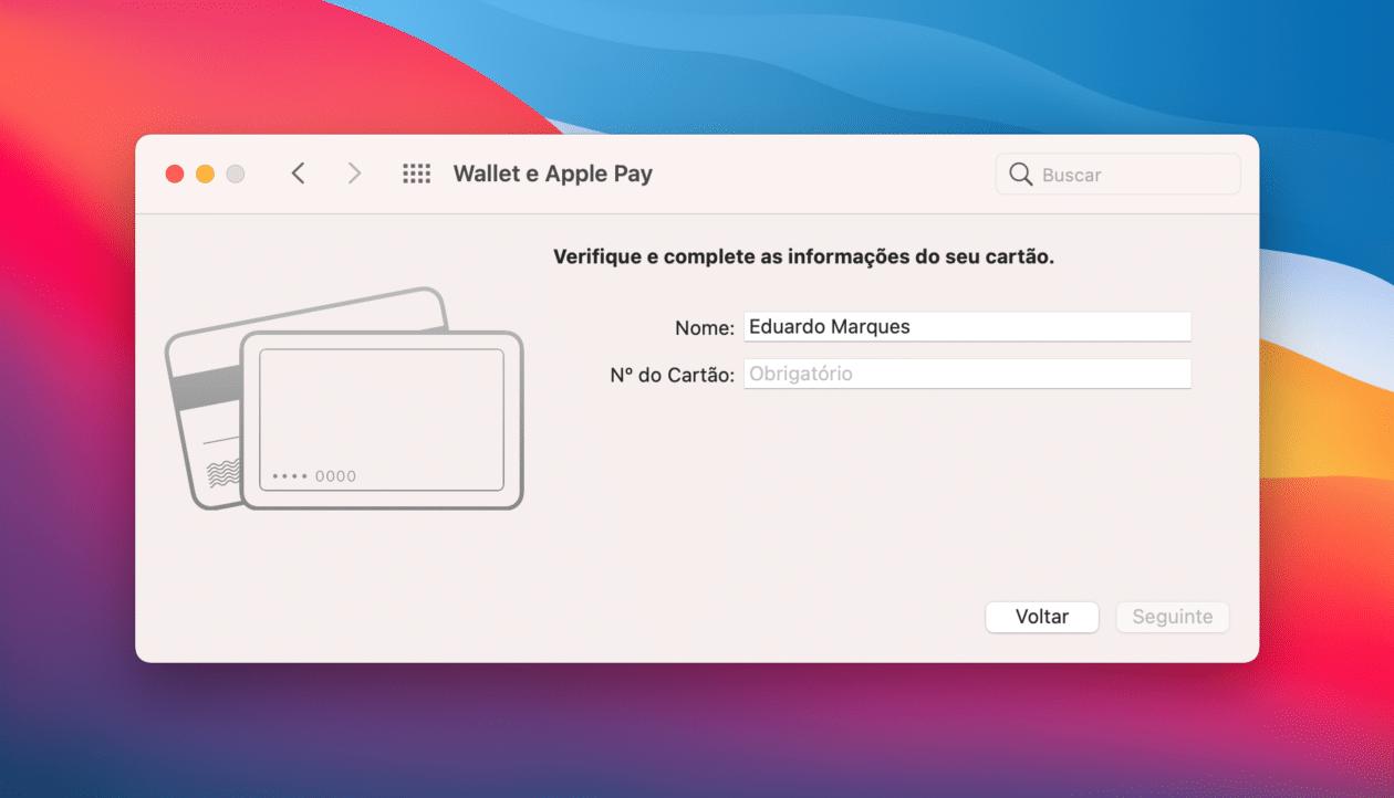 Usando o Apple Pay no Mac