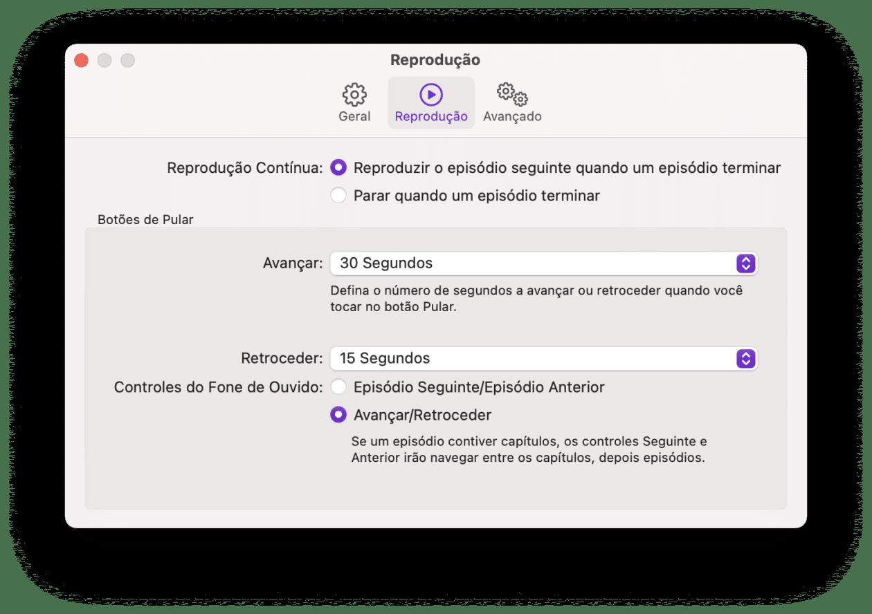Alterando os botões de avançar e retroceder podcasts no Mac