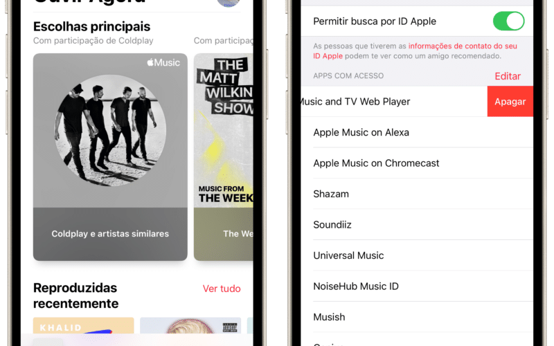 Apps com acesso ao Apple Music