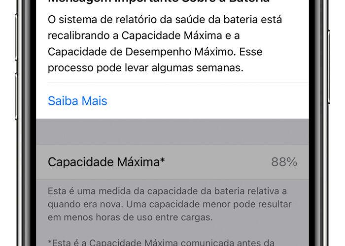 Recalibragem do sistema de relatório da saúde da bateria no iOS 14.5