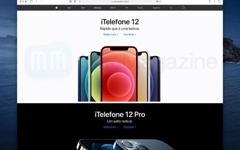 """""""iTelefone"""" no site da Apple Brasil"""