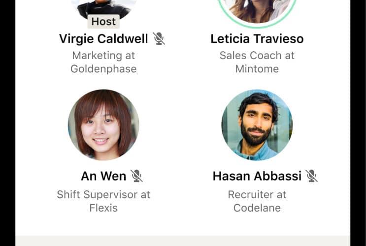 Prévia de como serão os chats de voz do LinkedIn (estilo Clubhouse)