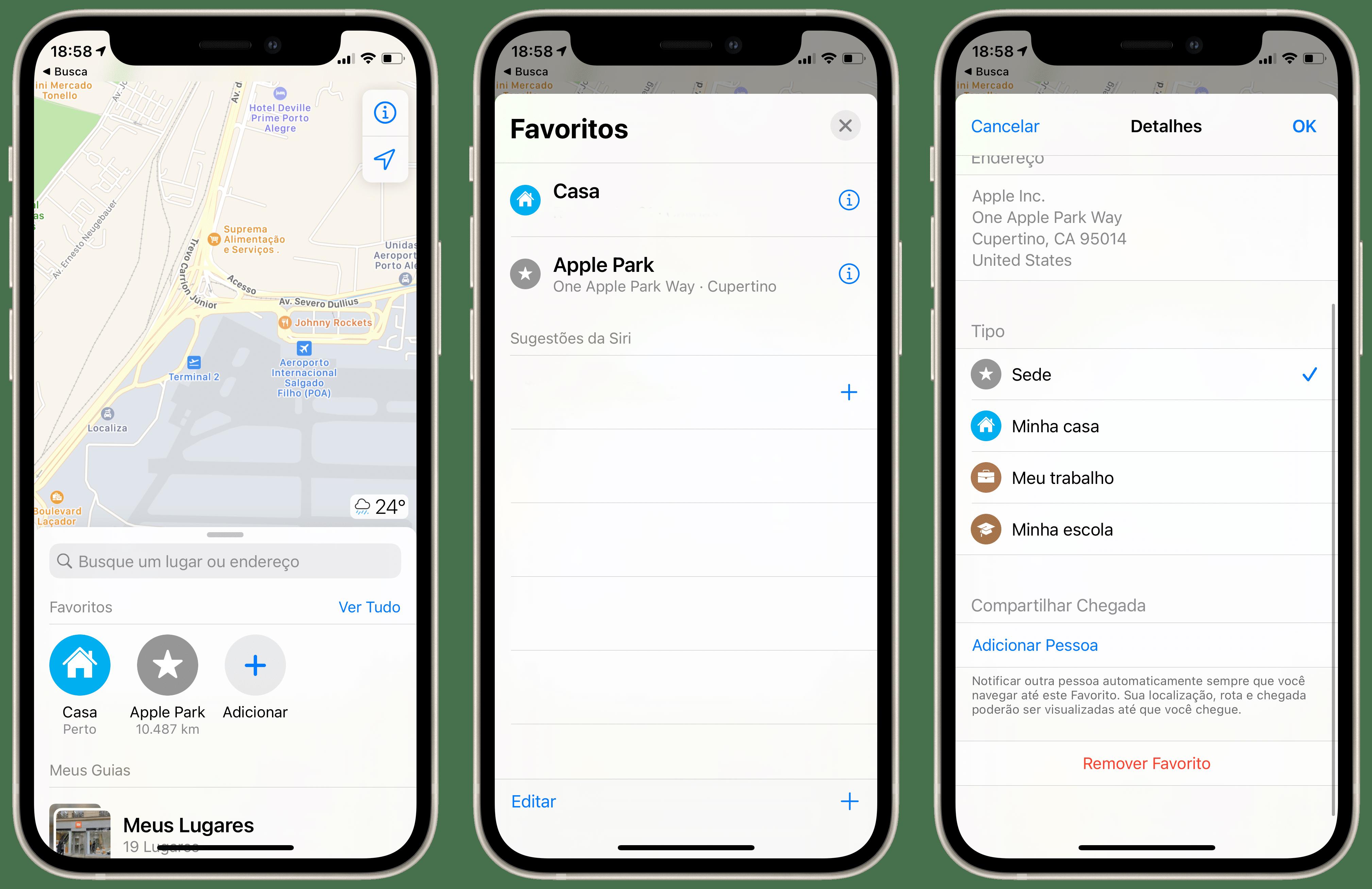 Excluindo um local favorito dos Mapas da Apple
