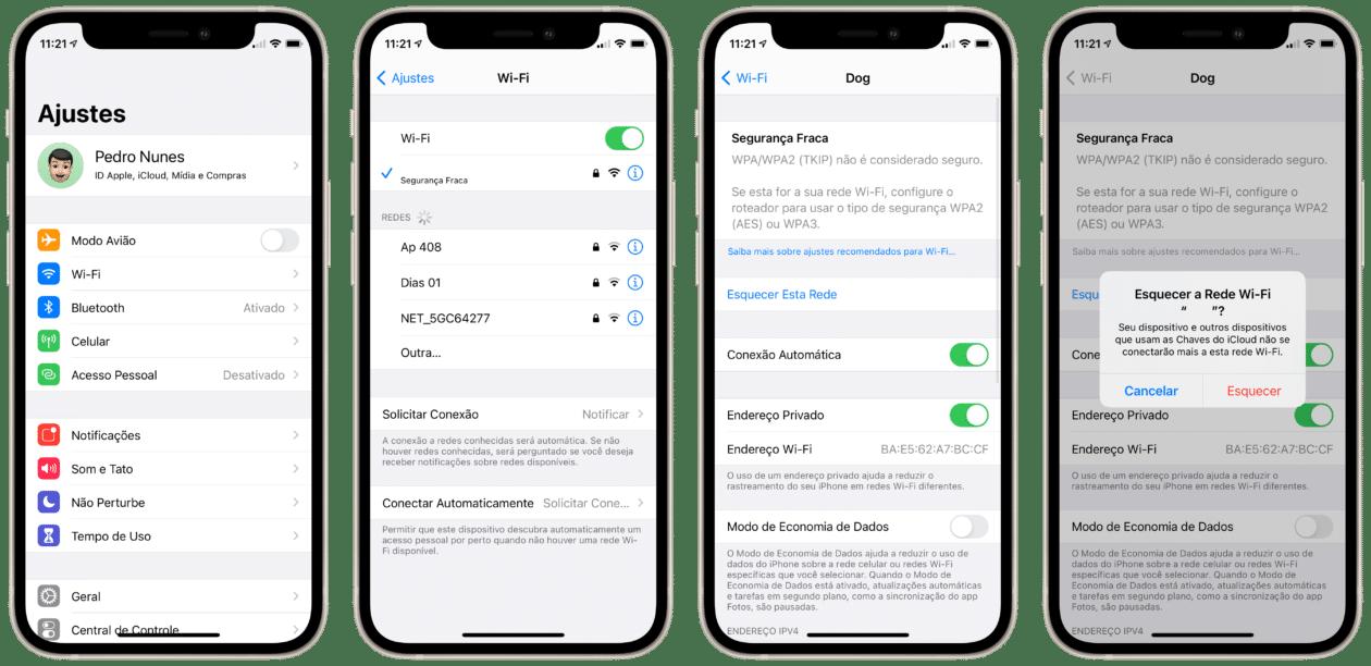 Esquecendo uma rede Wi-Fi no iPhone